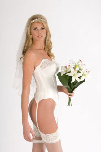 79d05b3b26 Silhouette Lace Embellished Wedding Basque .